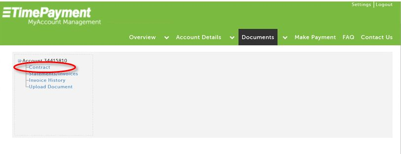 TimePayment's MyAccount Management Portal - View Your Contract